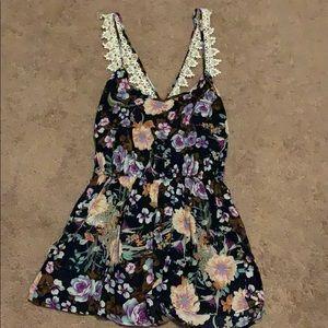 Tobi Lacey Floral Romper